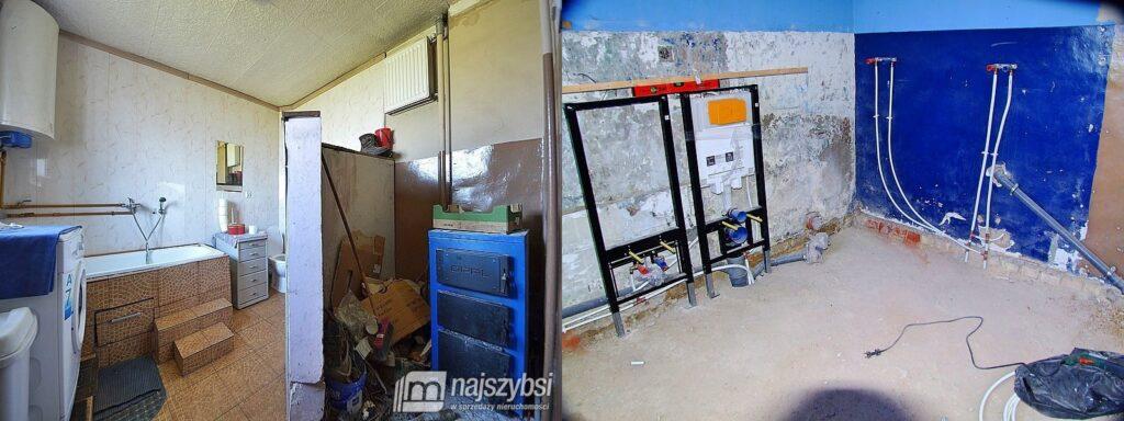 Łazienka przed naszym wprowadzeniem się (po lewej) i obecnie (po prawej)